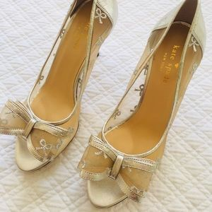 Kate Spade Made in Italy Silver Bow Heels Shoes